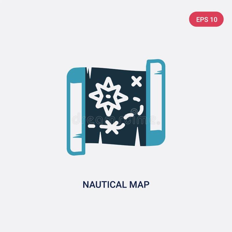 从船舶概念的两种颜色的船舶地图传染媒介象 被隔绝的蓝色船舶地图传染媒介标志标志可以是网的,机动性用途 向量例证