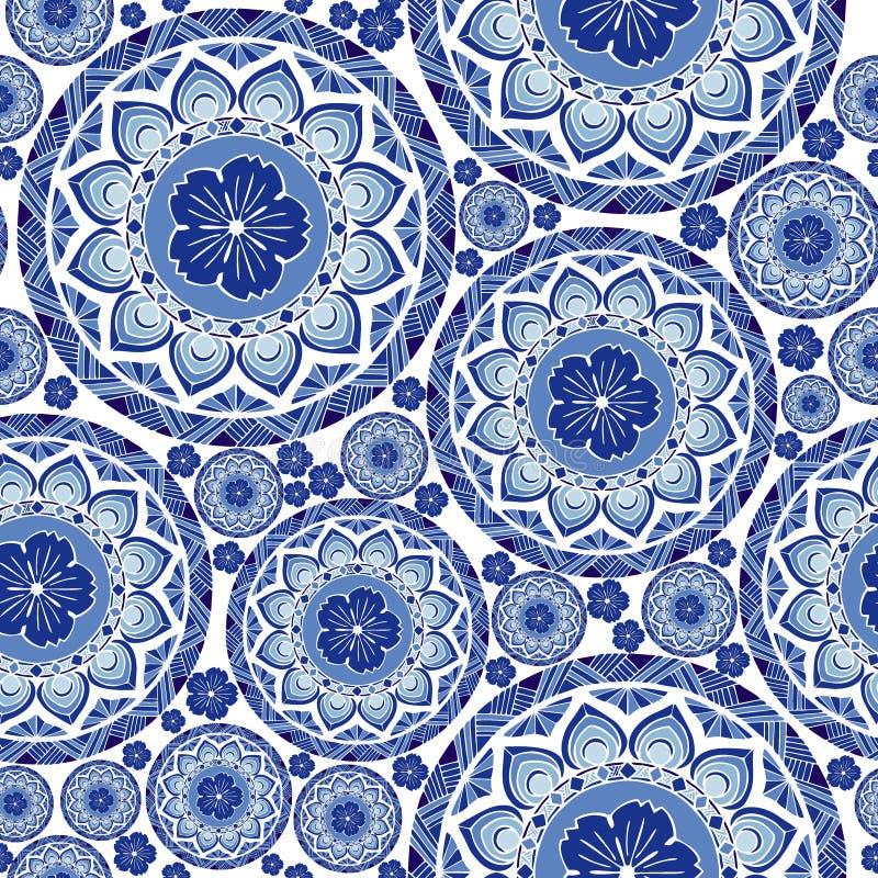 从花和蒋酱之叶叶子无缝的样式的靛蓝色瓷别致的boho坛场设计 库存例证