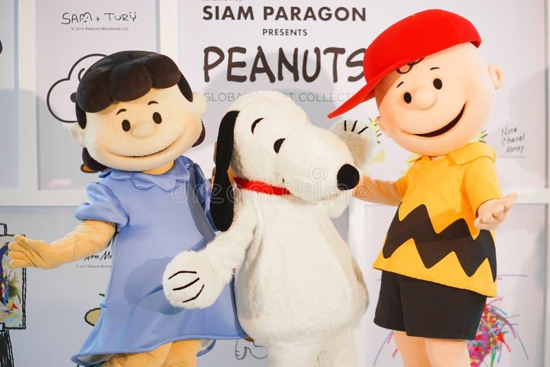 从花生电影的著名字符吉祥人 从左到右是露西,爱窥探者和查理・布朗 免版税图库摄影