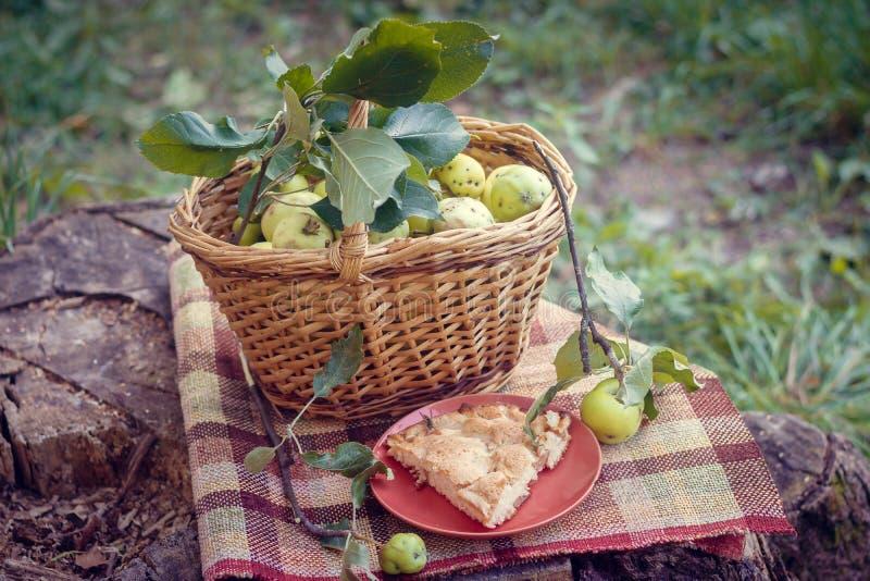 从苹果的篮子用苹果和夏洛特 秋天收获 在篮子的收集的自创苹果 免版税库存图片
