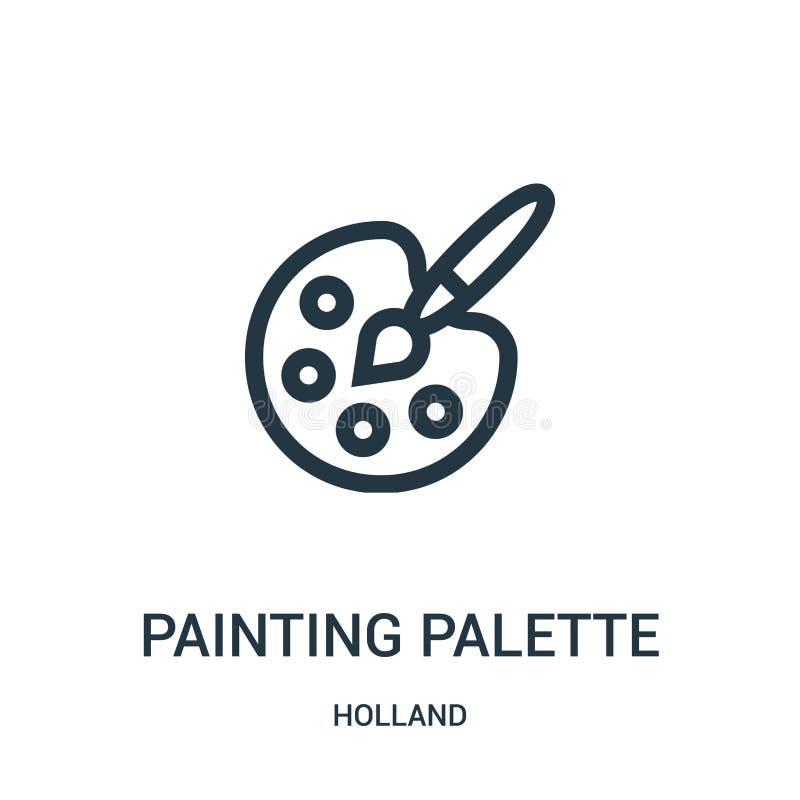 从荷兰汇集的绘的调色板象传染媒介 稀薄的线绘画调色板概述象传染媒介例证 线性标志 皇族释放例证