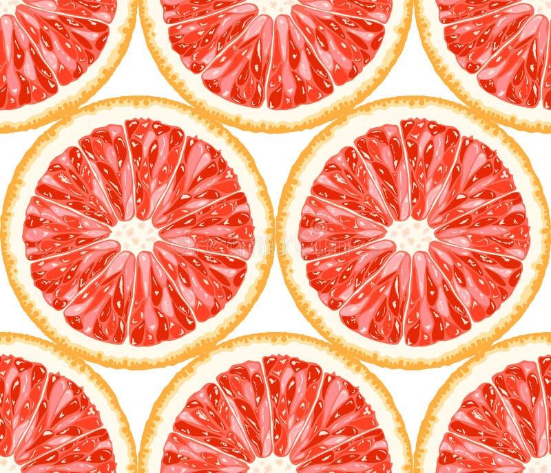 从葡萄柚切片的传染媒介无缝的样式 向量例证