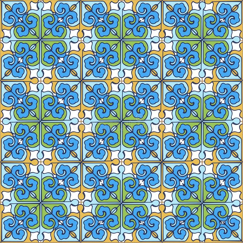从蓝色摩洛哥,葡萄牙的瓦片,黄色,绿色的无缝的补缀品样式 装饰装饰品可以为wallpap使用 库存例证