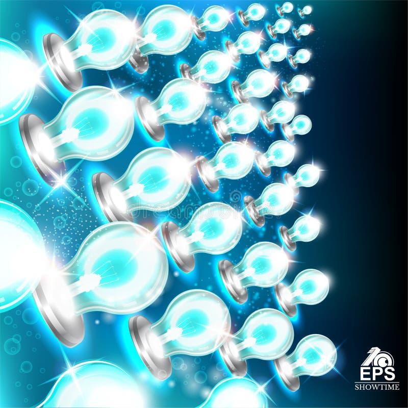 从蓝色电灯泡的抽象明亮的背景在黑暗的左边 皇族释放例证