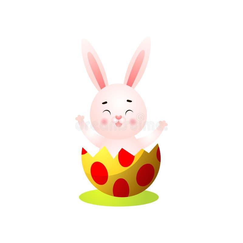 从蛋壳的逗人喜爱的愉快的微笑的复活节兔子出口 向量例证