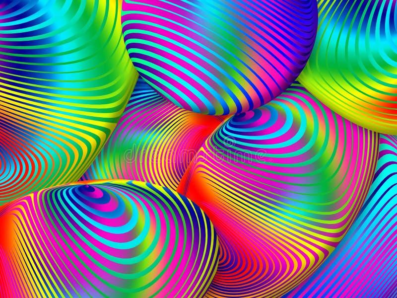 从螺旋设计的分数维抽象多彩多姿的背景 Il 皇族释放例证