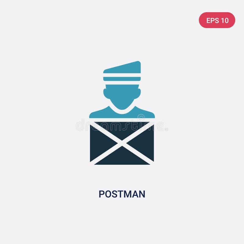 从行业概念的两种颜色的邮差传染媒介象 被隔绝的蓝色邮差传染媒介标志标志可以是网的用途,流动和 皇族释放例证