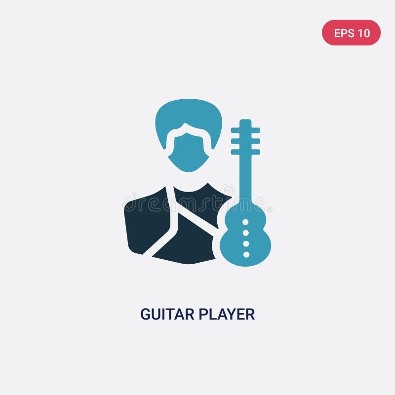 从行业&工作概念的两种颜色的吉他演奏员传染媒介象 被隔绝的蓝色吉他演奏员传染媒介标志标志可以是用途为 皇族释放例证