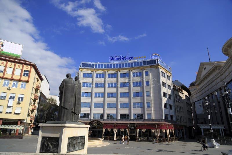 从街市斯科普里,马其顿首都的看法 图库摄影