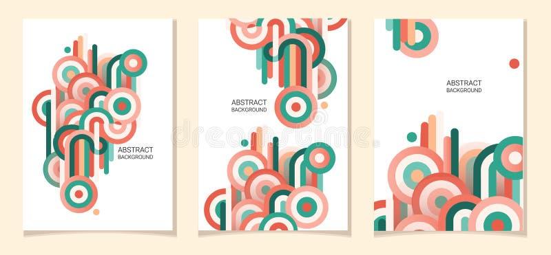 从被环绕的带,未来派和现代颜色的抽象构成 库存例证
