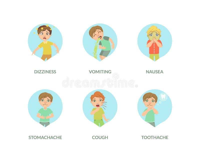 从被设置的不同的症状的逗人喜爱的男孩痛苦,头晕,呕吐,恶心,肚子疼,咳嗽,牙痛传染媒介 皇族释放例证