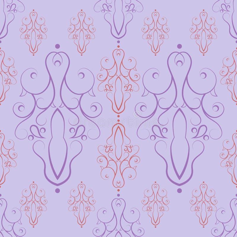 从装饰多彩多姿的元素的无缝的样式在轻丁香背景 向量例证