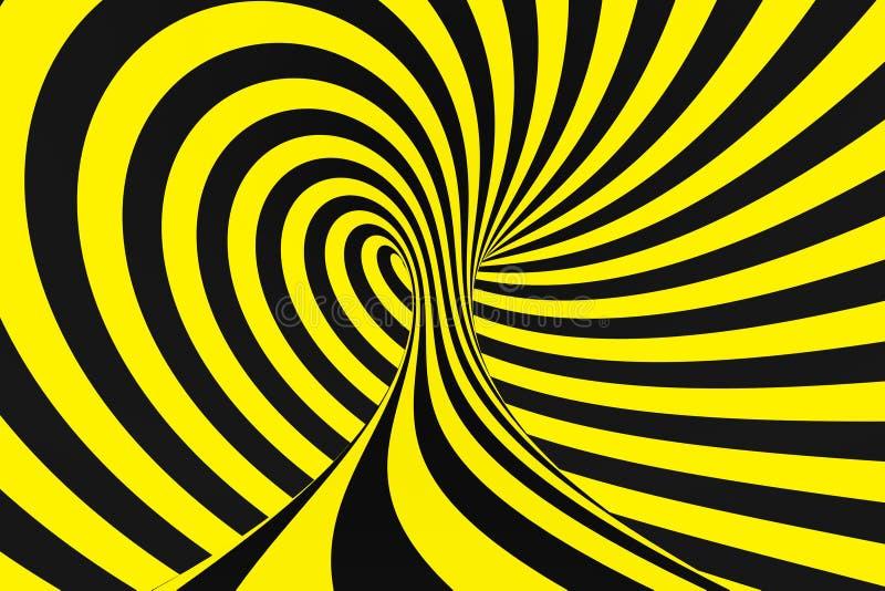 从警察丝带的黑和黄色螺旋隧道 镶边扭转的催眠错觉 警告安全背景 库存图片