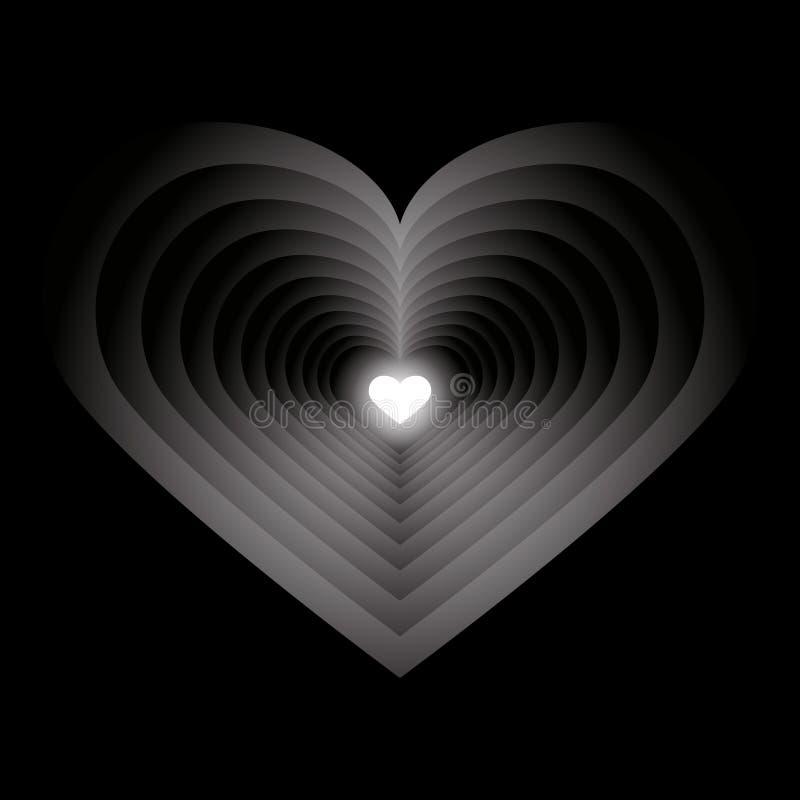 从许多心脏的隧道 库存例证