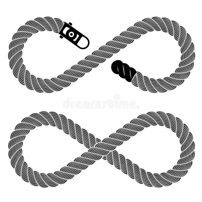 从详细的绳索,简单的样式的无限标志 向量例证