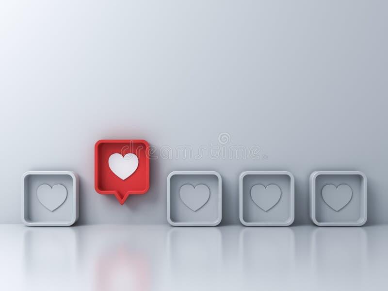 从象心脏象的人群和另外创造性想法概念一个红色3d社会媒介通知爱引人注意在红色 库存例证