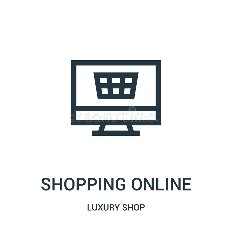 从豪华商店收藏的购物的网上象传染媒介 稀薄的线购物的网上概述象传染媒介例证 向量例证