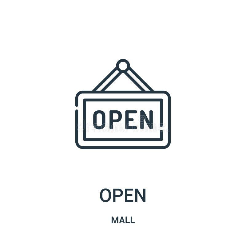 从购物中心汇集的开放象传染媒介 稀薄的线开放概述象传染媒介例证 线性标志为在网和机动性的使用 向量例证