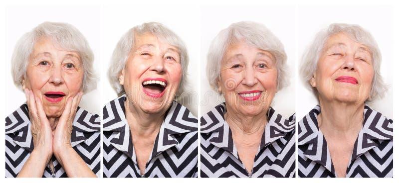 从资深妇女的不同的情感的拼贴画 免版税库存图片