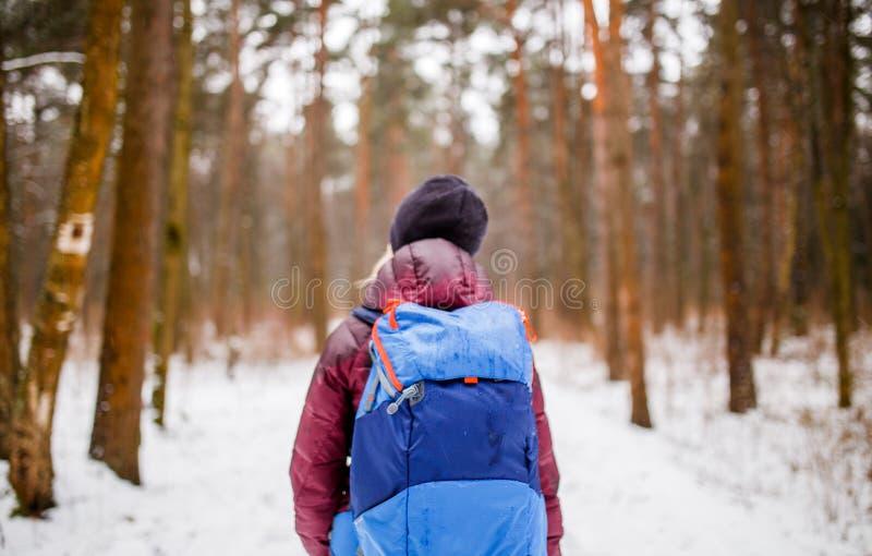 从走的妇女后面的图象有背包的在冬天森林 免版税库存图片