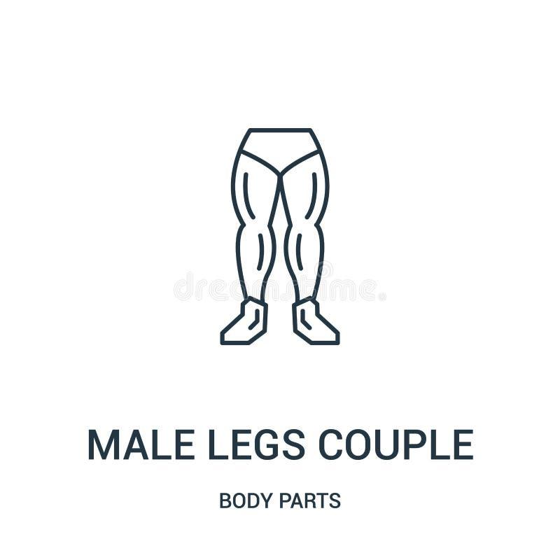 从身体局部汇集的男性腿夫妇象传染媒介 稀薄的线男性腿夫妇概述象传染媒介例证 向量例证