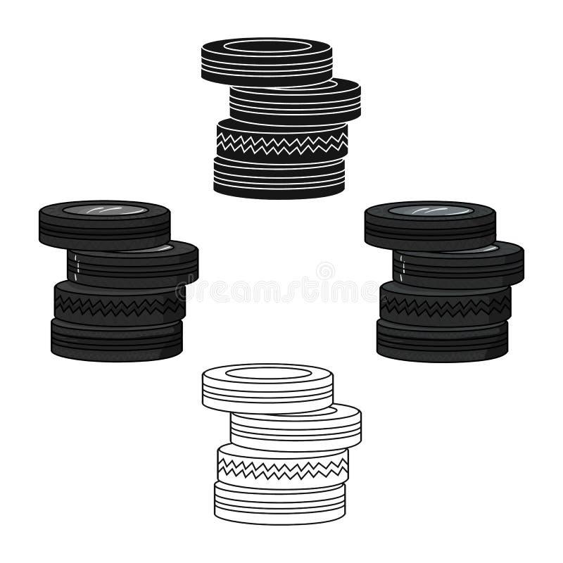 从轮胎象的护拦在动画片,黑样式隔绝在白色背景 迷彩漆弹运动标志股票传染媒介 向量例证