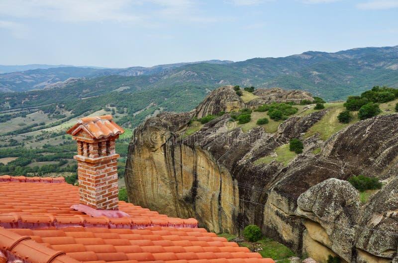 从迈泰奥拉修道院,色萨利,希腊的看法 免版税库存照片