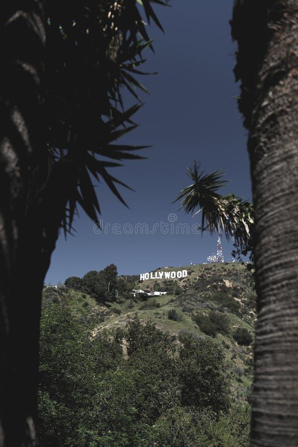从远方看的好莱坞标志 免版税库存图片