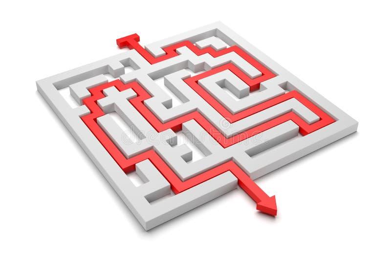 从迷宫出来的红色箭头 库存例证