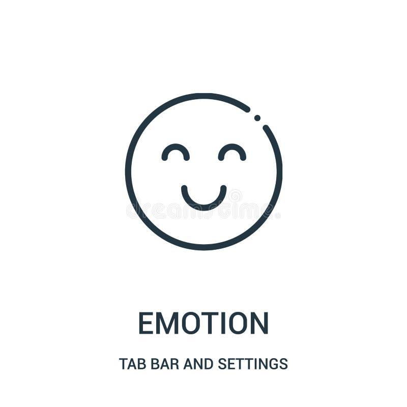 从选项酒吧和设置汇集的表情符号传染媒介 稀薄的线情感概述象传染媒介例证 向量例证