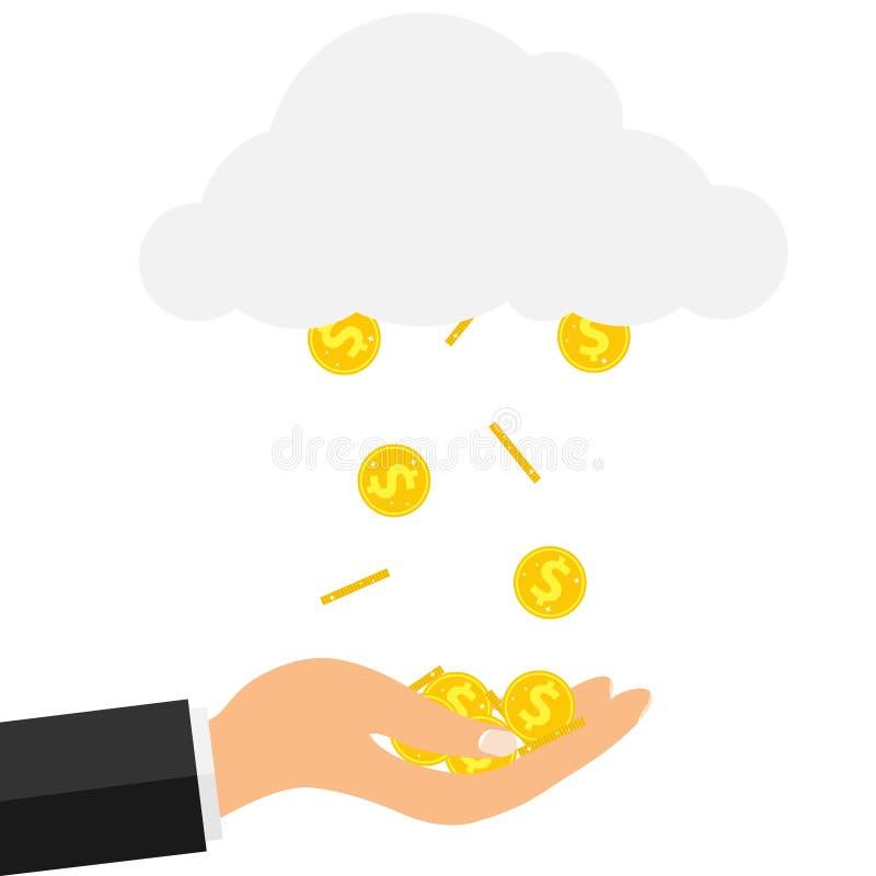 从金币的雨 金币从云彩落到手 皇族释放例证