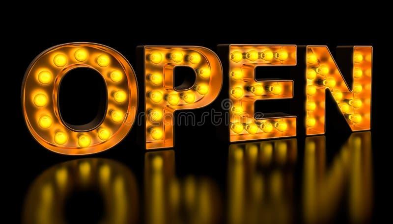 从金黄电灯泡信件的开放牌,减速火箭的发光的字体 3d?? 库存例证