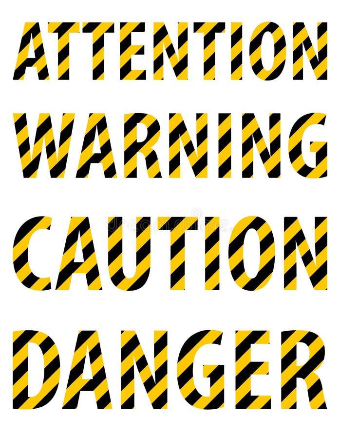 从镶边信件的注意小心危险警告文本以一卷防护黄色黑磁带的形式 奶油被装载的饼干 Vecto 库存例证