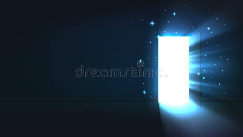 从门户开放主义一个暗室打开,摘要神秘的发光的出口,发现,背景,门户开放主义的模板嘲笑 库存例证