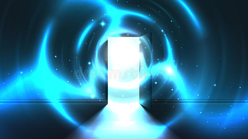从门户开放主义的轻的隧道暗室,摘要神秘的奇异的发光的出口 光在最后隧道的 ?? 库存例证
