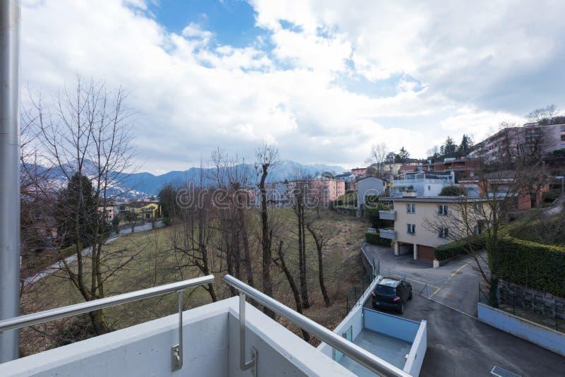 从阳台的看法外在风景的 免版税库存照片