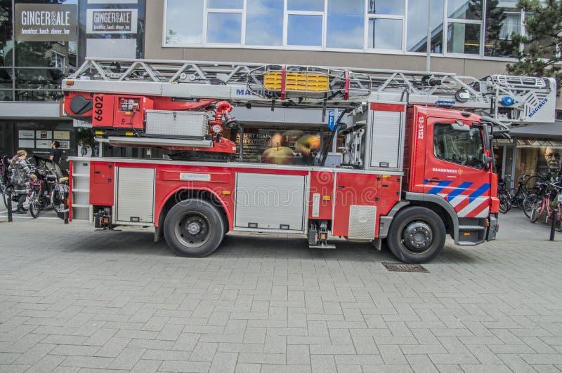 从阿姆斯特丹的消防队的一辆卡车荷兰 库存图片