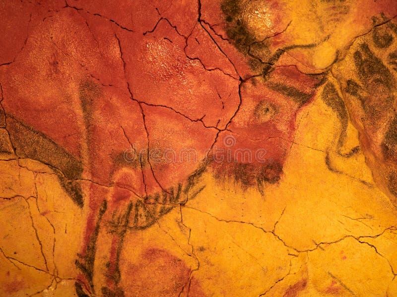 从阿尔塔米拉天花板的图画在海边的散提亚拿,坎塔布里亚,西班牙陷下 库存图片