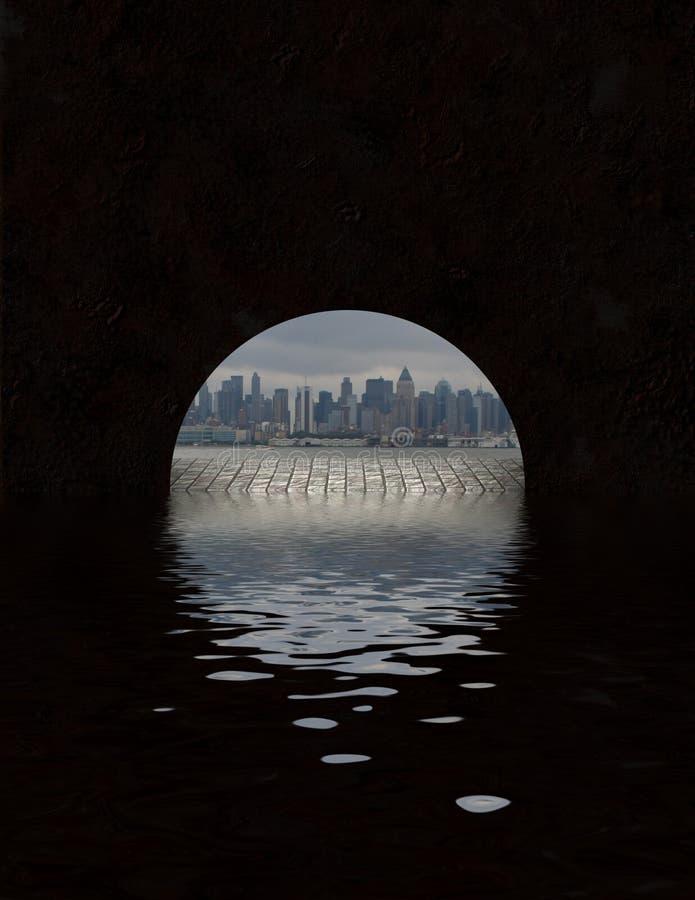 从隧道开头看见的城市 库存例证