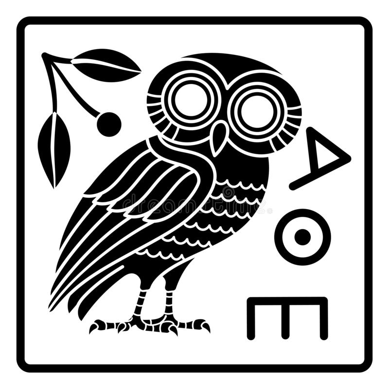 从雅典的希腊古老硬币,葡萄酒例证 猫头鹰和一个橄榄树分支的老被刻记的例证 向量例证