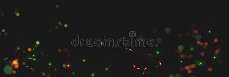 从霓虹灯的被弄脏的橙色和绿色火花在黑backgound前面 库存例证
