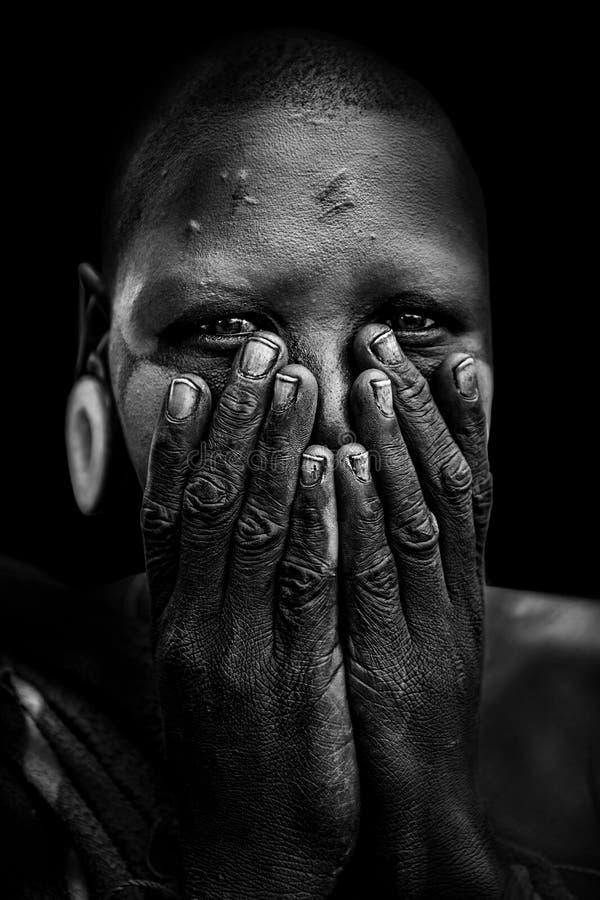 从非洲部落Mursi,埃塞俄比亚的妇女 库存照片