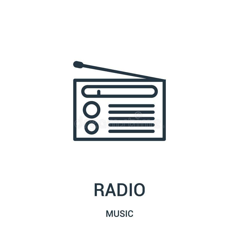 从音乐汇集的无线电象传染媒介 稀薄的线无线电概述象传染媒介例证 皇族释放例证
