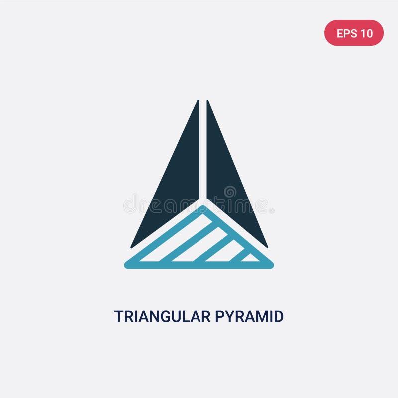 从顶视图传染媒介象的两种颜色的三角金字塔从形状概念 从顶视图传染媒介的被隔绝的蓝色三角金字塔 库存例证