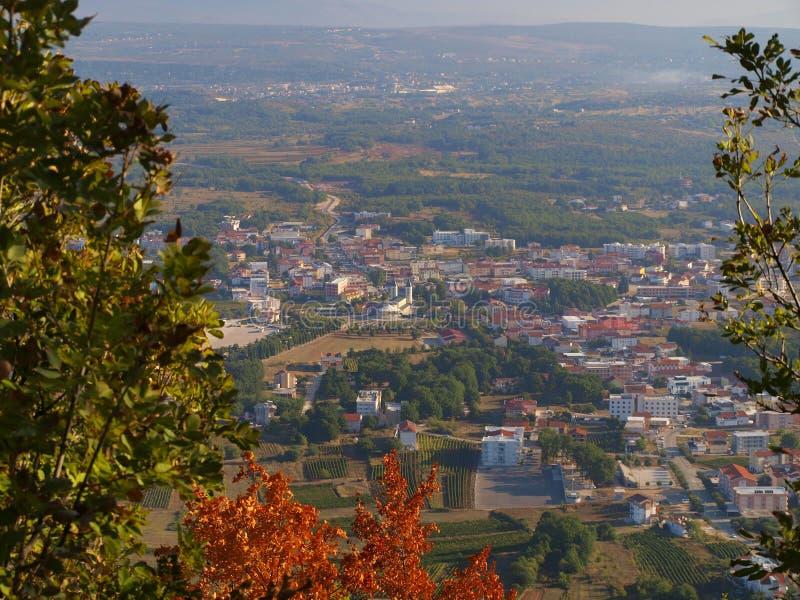 从顶部Krizevac的全景Medjugorje 库存图片