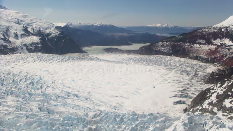 从顶面Mendenhall冰川朱诺阿拉斯加的看法 库存图片