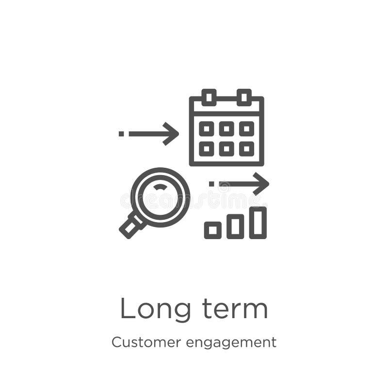 从顾客订婚汇集的长期象传染媒介 稀薄的线长期概述象传染媒介例证 概述,稀薄 库存例证
