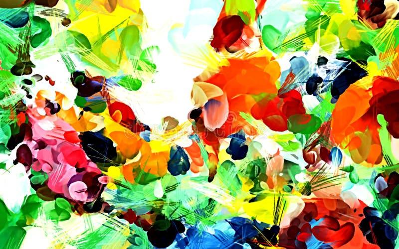 从颜色混乱被弄脏的斑点的抽象难看的东西背景掠过不同的大小冲程  库存例证