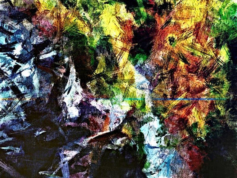 从颜色混乱被弄脏的斑点的抽象难看的东西背景掠过不同的大小冲程  向量例证