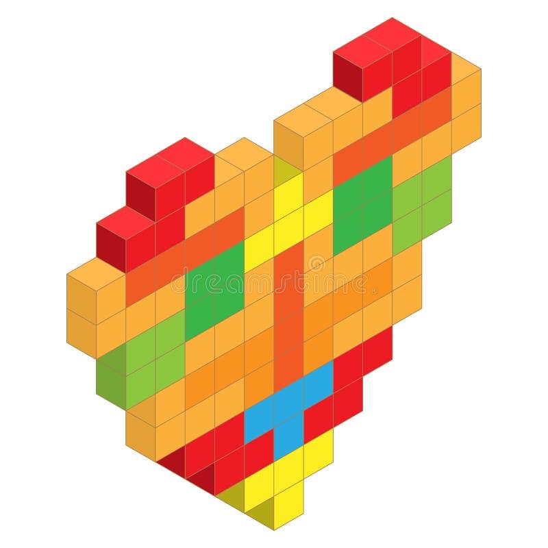 从颜色tetris建立的心脏阻拦等量例证 库存例证